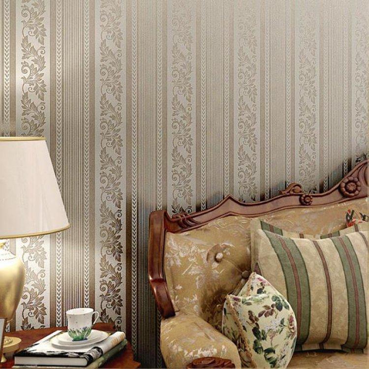 p玛尚无纺布壁纸 卧室客厅餐厅背景墙纸壁纸 欧式茛苕竖条纹墙纸
