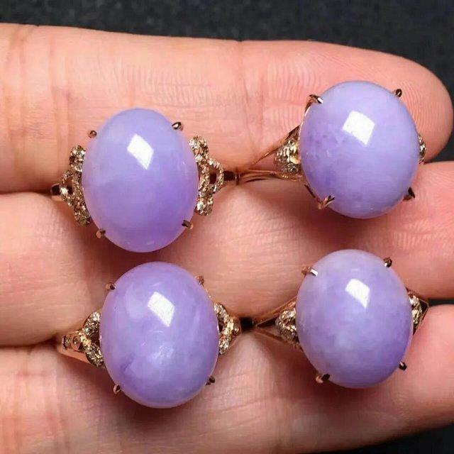 fm ¥1999紫翡 粉紫蛋 起高光 色艳 18k金伴 配送证书
