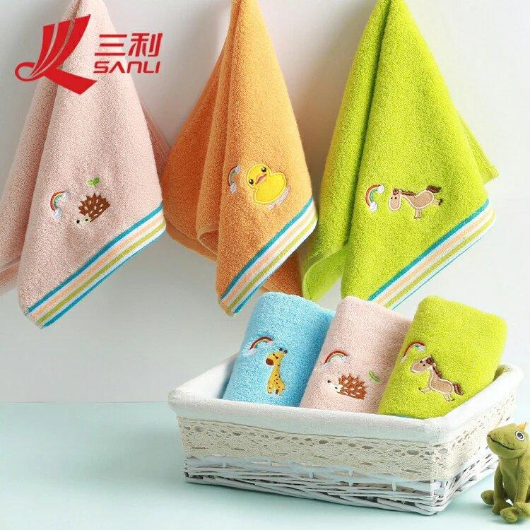 (4条)三利纯棉吸水绣花童巾可爱卡通宝宝儿童毛巾7071