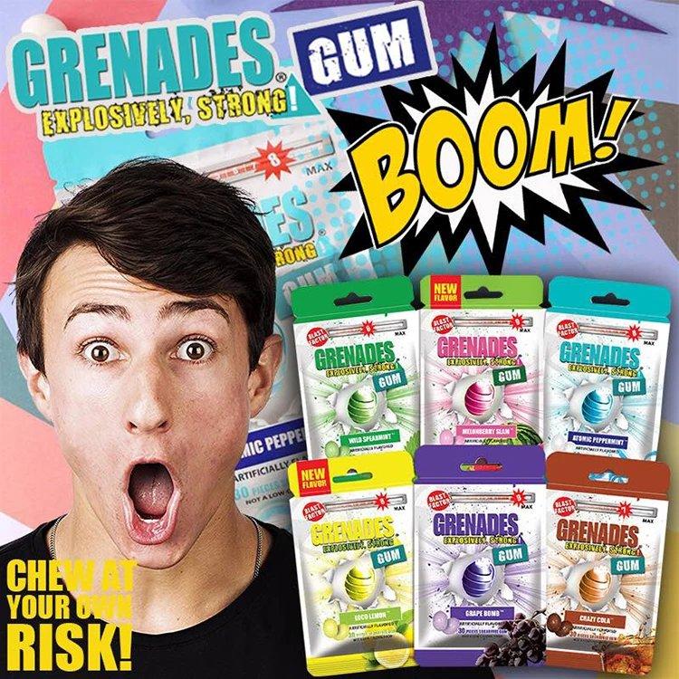 【2袋装】 美国grenades歌雷呐爆炸口香糖超级薄荷爆爽凉冰强劲提